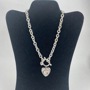 Thick Silver Tone Chain Necklace Jeweled Heart